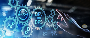 Dev Ops Image and hand pointing like a mouse click